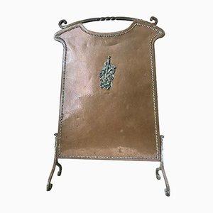 Antiker gebogener Kaminschirm aus Kupfer