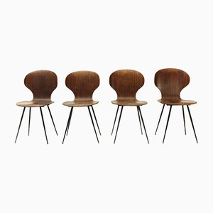Lully Plywood Chairs by Carlo Ratti for Industria Legni Curvati, 1950s, Set of 4