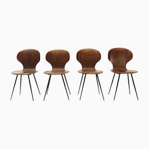 Lully Stühle aus Schichtholz von Carlo Ratti für Industria Legni Curvati, 1950er, 4er Set
