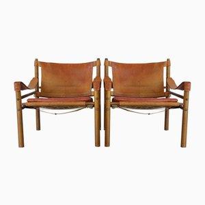 Chaises Sirocco en Palissandre et Cuir Rouge de Arne Norell, 1960s, Set de 2