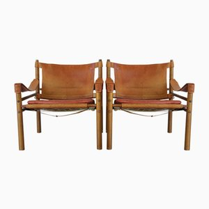 Sirocco Chairs in Rosewood & Red Leather from Arne Norell, 1960s, Set of 2
