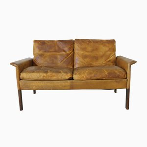 Leather & Rosewood Sofa by Hans Olsen for C.S. Møbler, 1960s