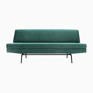 Italian Sofa Bed in Green Velvet, 1960s