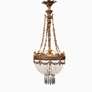 Antique French Napoleon III Crystal & Bronze Chandelier, 1870s