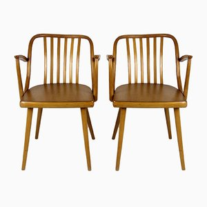 Czech Wooden Armchairs by Antonin Suman for TON, 1960s, Set of 2
