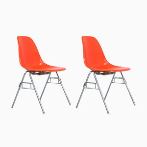 Orange Side Chairs by Charles & Ray Eames for Herman Miller, 1970s, Set of 2