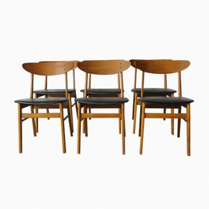 Model 210 Teak & Beech Chairs from Farstrup, 1960s, Set of 6