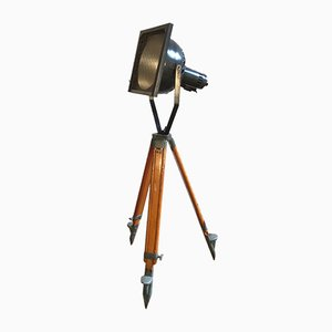 Theater Spotlight with Wooden Tripod Base, 1950s