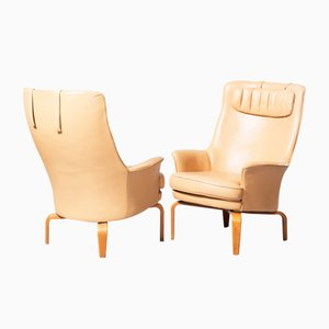 Pilot Highback Lounge Chairs in Leather & Beech from Arne Norell, 1970s, Set of 2
