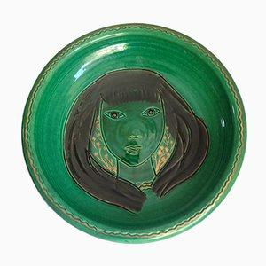Piatto in ceramica di Accolay, Francio, anni '50