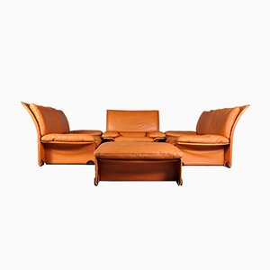 Italian Leather Albatros Living Room Set by Titiana Ammannati & Giampiero Vitelli for Brunati, 1976