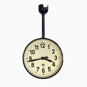 Industrial Double-Sided Railway or Factory Clock from Pragotron, 1950s