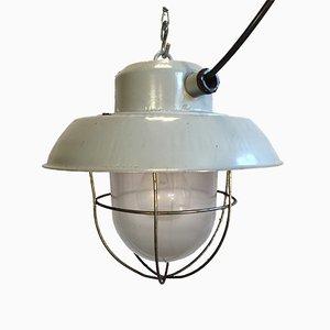 Lámpara colgante industrial de aluminio gris, años 60