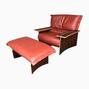Italienischer Sessel aus Holz & Leder von Poli & Fiori für Bernini, 1979