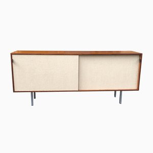 Teak & Linen Credenza by Florence Knoll for Knoll International, 1950s
