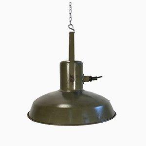 Lámpara colgante militar vintage en verde, años 60