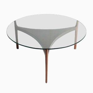 Mesa de centro de palisandro con tablero de vidrio de Sven Ellekaer para Chr. Linneberg Møbelfabrik, años 60