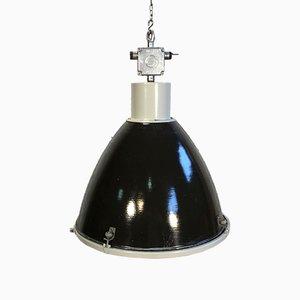 Grande Lampe Vintage Industrielle en Émail Noir de Elektrosvit
