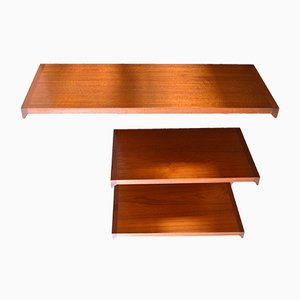 Danish Teak Wall Shelves, 1960s, Set of 3