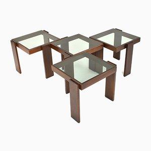Tavolini impilabili di Gianfranco Frattini per Cassina, Set di 4, anni '70