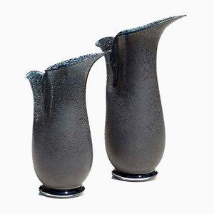Vintage Barbarico Vasen mit Vögeln von Barovier & Toso, 2er Set