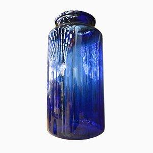 Französische Vintage Vase in Blau, 1930er
