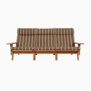 GE375 Oak & Wool 3-Seater Sofa by Hans J. Wegner for Getama