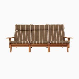 Sofá de tres plazas GE375 de roble y lana de Hans J. Wegner para Getama