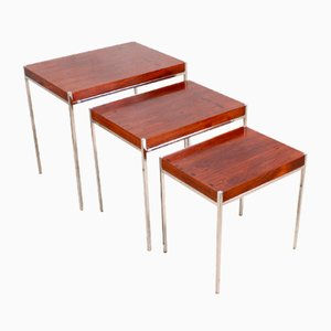 Rosewood & Chrome Nesting Tables, 1970s, Set of 3