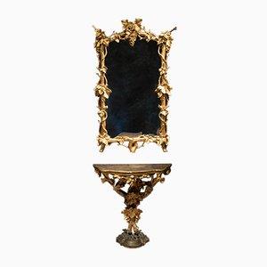 Consolle e specchio in legno dorato, Italia, inizio XIX secolo