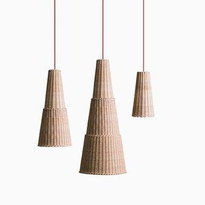 Lampe à Suspension Seia par Maurizio Bernabei pour Bottega Intreccio, Set de 3