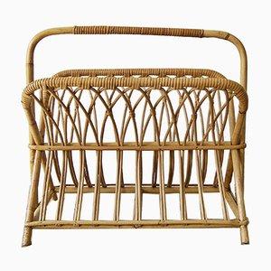 Large Mid-Century Bamboo Magazine Rack