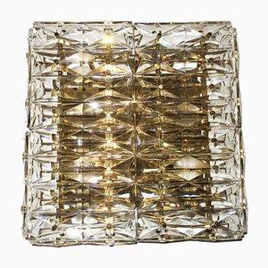 Lampada da parete in vetro intagliato sfaccettato e ottone con 6 luci di Kinkeldey, anni '60