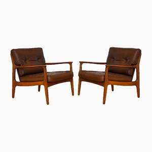 Leather Easy Chair by Eugen Schmidt for Soloform, 1960s, Set of 2