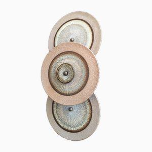 Lampada da parete a tre pannelli in ceramica di Noomi Backhausen & Poul Brandborg per Søholm, anni '60