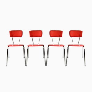 Stackable Kitchen Chairs in Red, 1950s, Set of 4