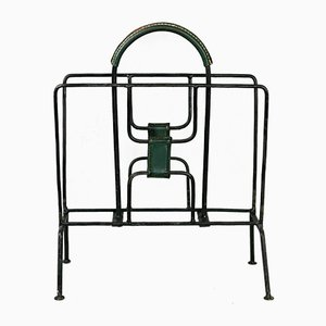French Metal & Green Leather Magazine Rack by Jacques Adnet, 1950s