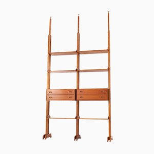 Teak Floor to Ceiling Shelving Unit, 1950s