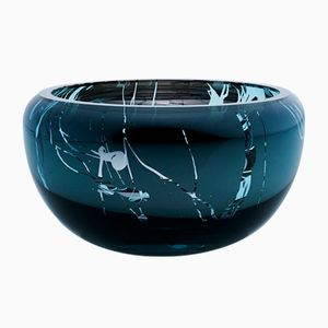 Small Round Splashed Teal Deco Bowl by Artis Nimanis for an&angel