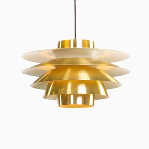 Verona Brass Pendant by Sven Middelboe for Nordisk Solar, 1960s