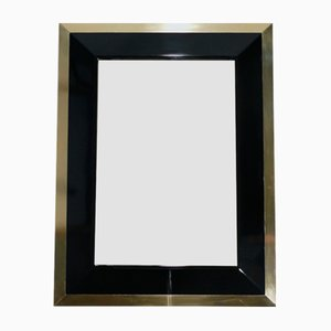 Black Lacquer & Brass Mirror by Jean Claude Mahey, 1970s