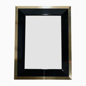 Specchio in ottone e laccato nero di Jean Claude Mahey, anni '70