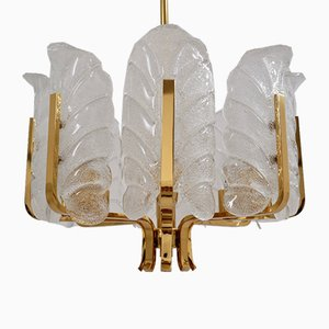 8-Light Glass Leaves & Brass Chandelier by Carl Fagerlund for Orrefors, 1960s