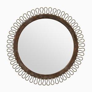 Specchio rotondo Mid-Century in ottone, anni '50