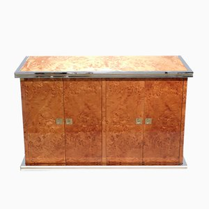 Small Elm Burl, Brass & Chrome Sideboard, 1970s