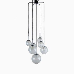 Lámpara de techo con 7 bolas de vidrio, años 70