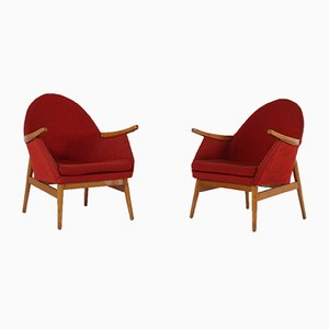 Red Lounge Chairs, 1950s, Set of 2