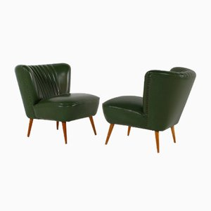 Mid-Century Cocktail Chairs in Green Leatherette, Set of 2