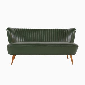 Mid-Century Cocktail Sofa in Green Leatherette