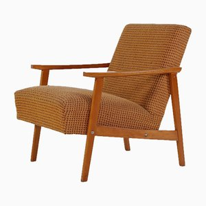 Lounge Chair in Ocher Fabric, 1950s